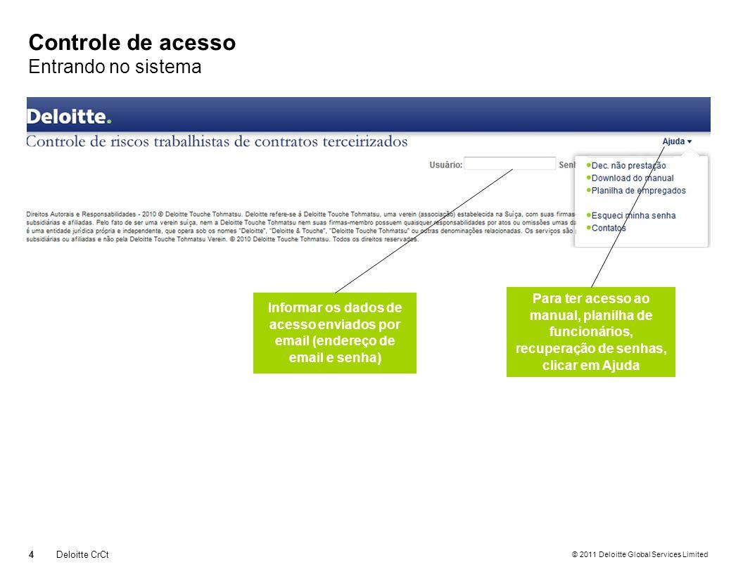 © 2011 Deloitte Global Services Limited Carga de documentos Confirmação de envio dos documentos.