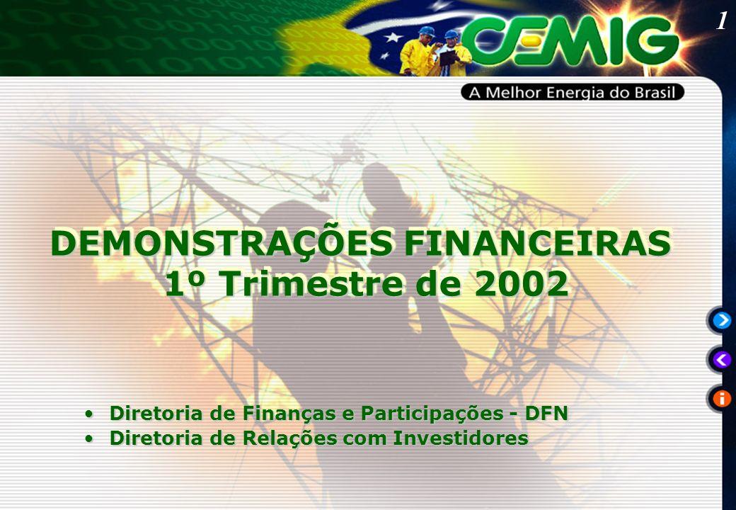 1 DEMONSTRAÇÕES FINANCEIRAS 1º Trimestre de 2002 1º Trimestre de 2002 DEMONSTRAÇÕES FINANCEIRAS 1º Trimestre de 2002 1º Trimestre de 2002 Diretoria de Finanças e Participações - DFNDiretoria de Finanças e Participações - DFN Diretoria de Relações com InvestidoresDiretoria de Relações com Investidores