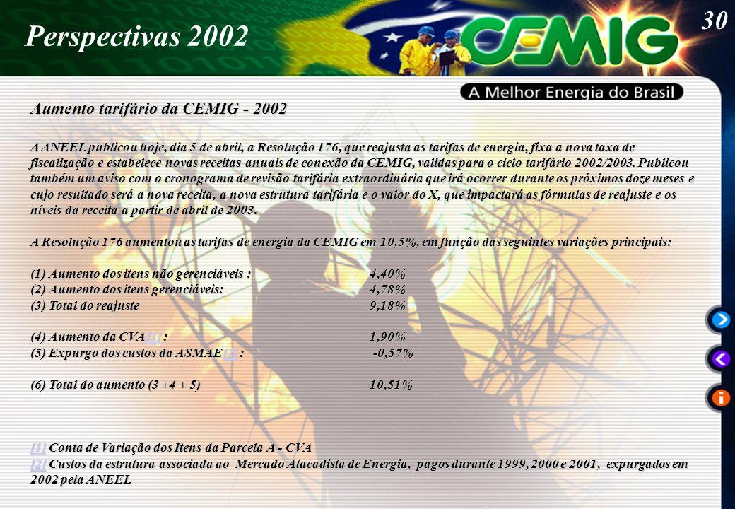 30 Perspectivas 2002 Aumento tarifário da CEMIG - 2002 A ANEEL publicou hoje, dia 5 de abril, a Resolução 176, que reajusta as tarifas de energia, fixa a nova taxa de fiscalização e estabelece novas receitas anuais de conexão da CEMIG, validas para o ciclo tarifário 2002/2003.