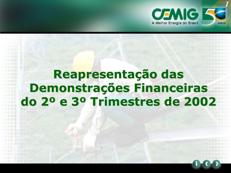 2 All financial information in Brazilian GAAP Cronologia Cemig divulga em 15 de agosto de 2002 o ITR do 2º Trimestre de 2002 Em 25 de setembro de 2002 a CVM, em conseqüência da ressalva contida no parecer dos auditores independentes às demonstrações financeiras, determinou que a Cemig constituisse provisão para perda relativa aos recebíveis da CRC e reapresentasse o ITR do 2º trimestre A Cemig apresentou recurso ao colegiado da CVM em 14 de outubro de 2002 Em 08 de janeiro de 2003 a CVM negou provimento ao recurso e determinou a reapresentação do ITR do 2º trimestre de 2002 Em 22 de janeiro de 2003 a Cemig reapresentou seus ITRs do 2º e 3º trimestres de 2002