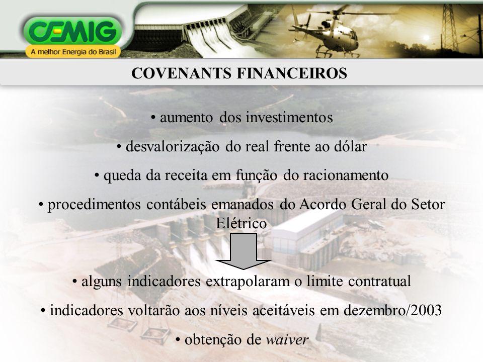 COVENANTS FINANCEIROS aumento dos investimentos desvalorização do real frente ao dólar queda da receita em função do racionamento procedimentos contáb