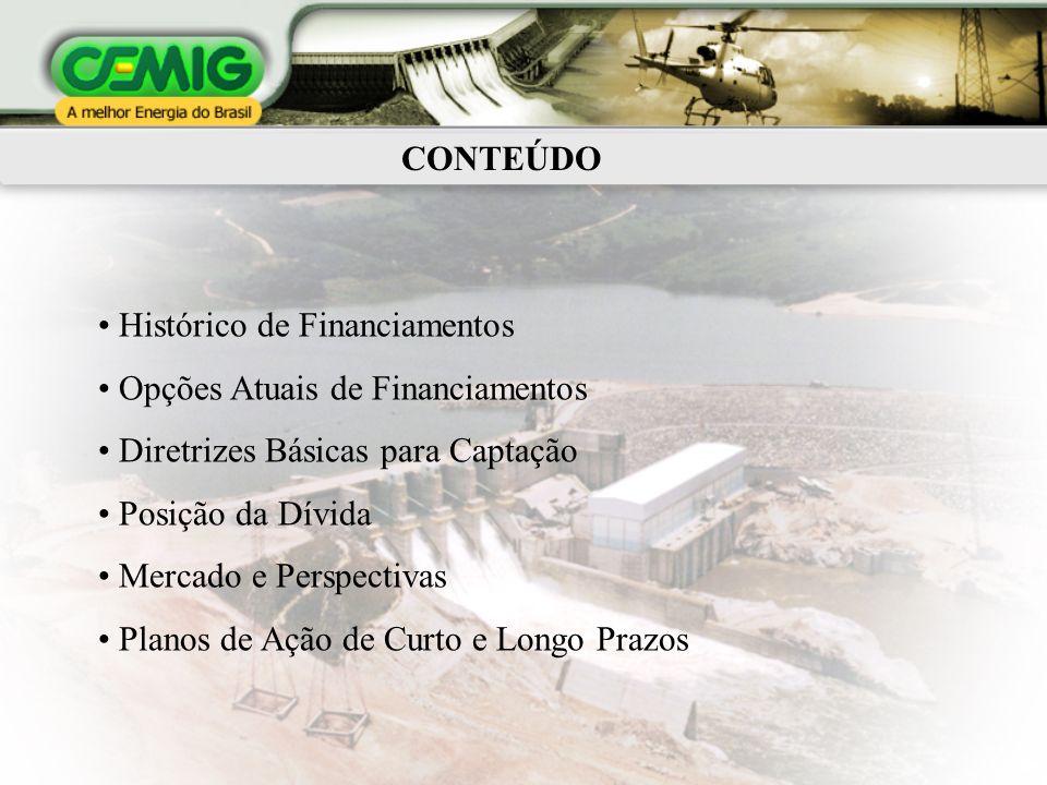 CONTEÚDO Histórico de Financiamentos Opções Atuais de Financiamentos Diretrizes Básicas para Captação Posição da Dívida Mercado e Perspectivas Planos