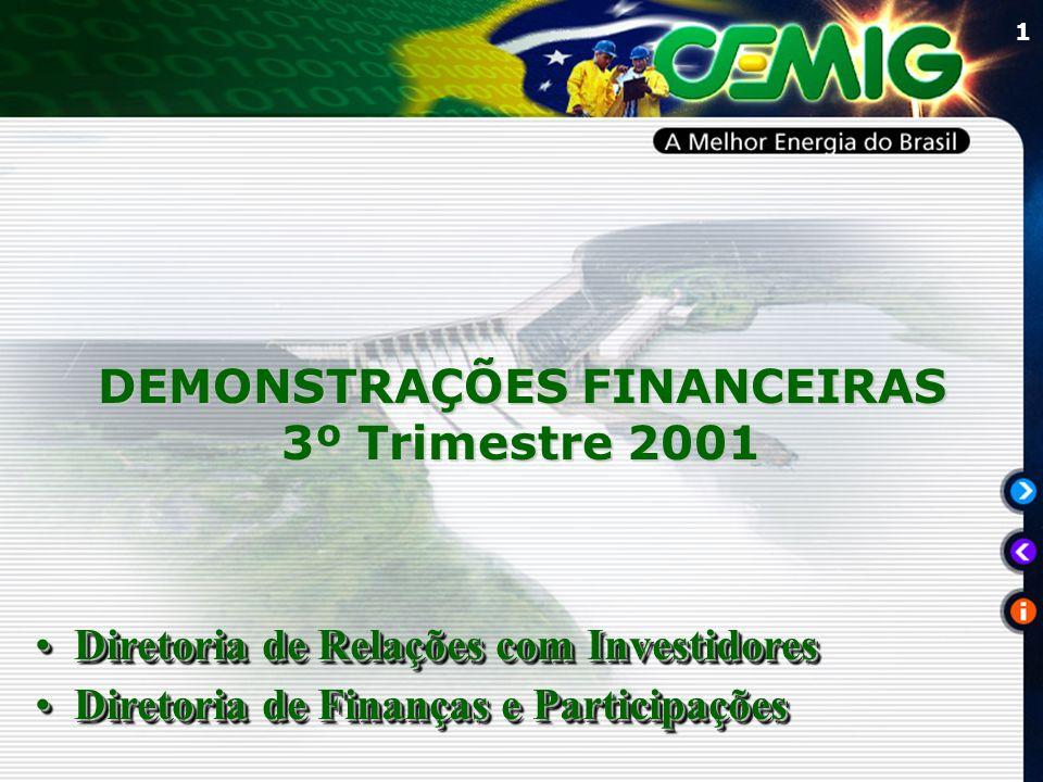 1 DEMONSTRAÇÕES FINANCEIRAS 3º Trimestre 2001 Diretoria de Relações com InvestidoresDiretoria de Relações com Investidores Diretoria de Finanças e ParticipaçõesDiretoria de Finanças e Participações Diretoria de Relações com InvestidoresDiretoria de Relações com Investidores Diretoria de Finanças e ParticipaçõesDiretoria de Finanças e Participações
