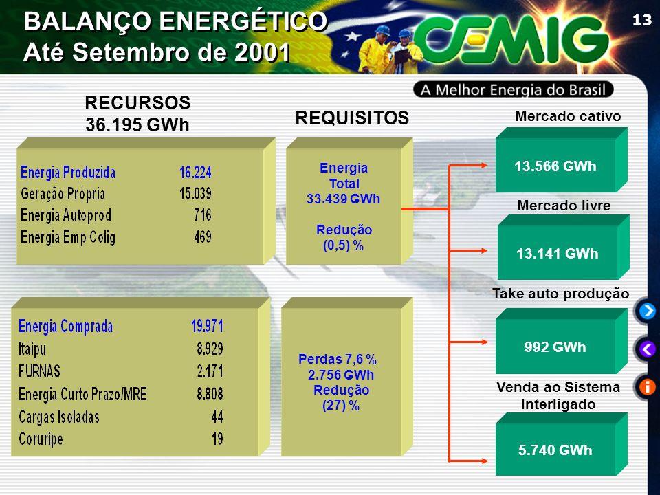 13 REQUISITOS Mercado cativo Mercado livre Venda ao Sistema Interligado 13.566 GWh 13.141 GWh 5.740 GWh Energia Total 33.439 GWh Redução (0,5) % Perdas 7,6 % 2.756 GWh Redução (27) % BALANÇO ENERGÉTICO Até Setembro de 2001 Take auto produção 992 GWh RECURSOS 36.195 GWh
