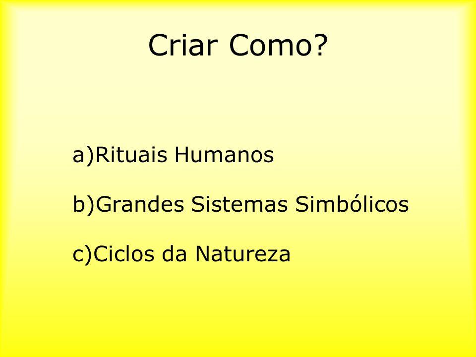 Criar Como? a)Rituais Humanos b)Grandes Sistemas Simbólicos c)Ciclos da Natureza