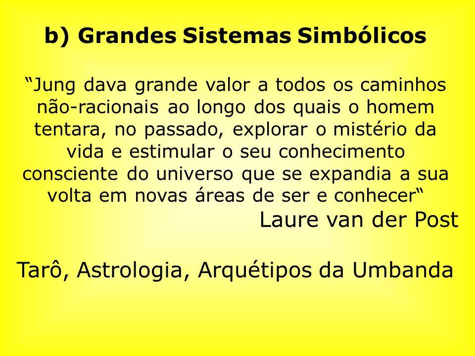 b) Grandes Sistemas Simbólicos Jung dava grande valor a todos os caminhos não-racionais ao longo dos quais o homem tentara, no passado, explorar o mis