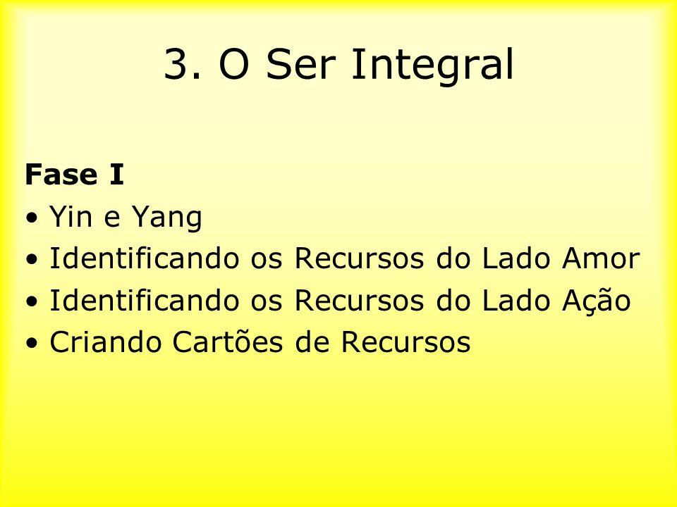3. O Ser Integral Fase I Yin e Yang Identificando os Recursos do Lado Amor Identificando os Recursos do Lado Ação Criando Cartões de Recursos