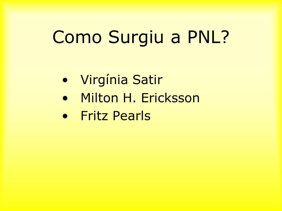 Como Surgiu a PNL? Virgínia Satir Milton H. Ericksson Fritz Pearls