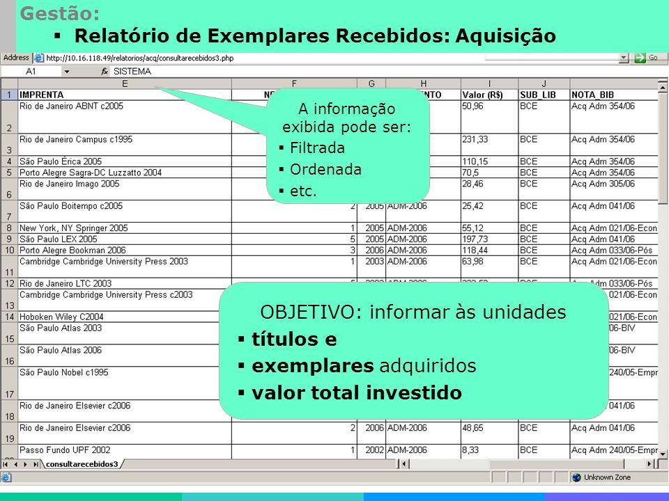 Desenvolvimentos especiais Gestão: Relatório de Exemplares Recebidos: Aquisição A informação exibida pode ser: Filtrada Ordenada etc.