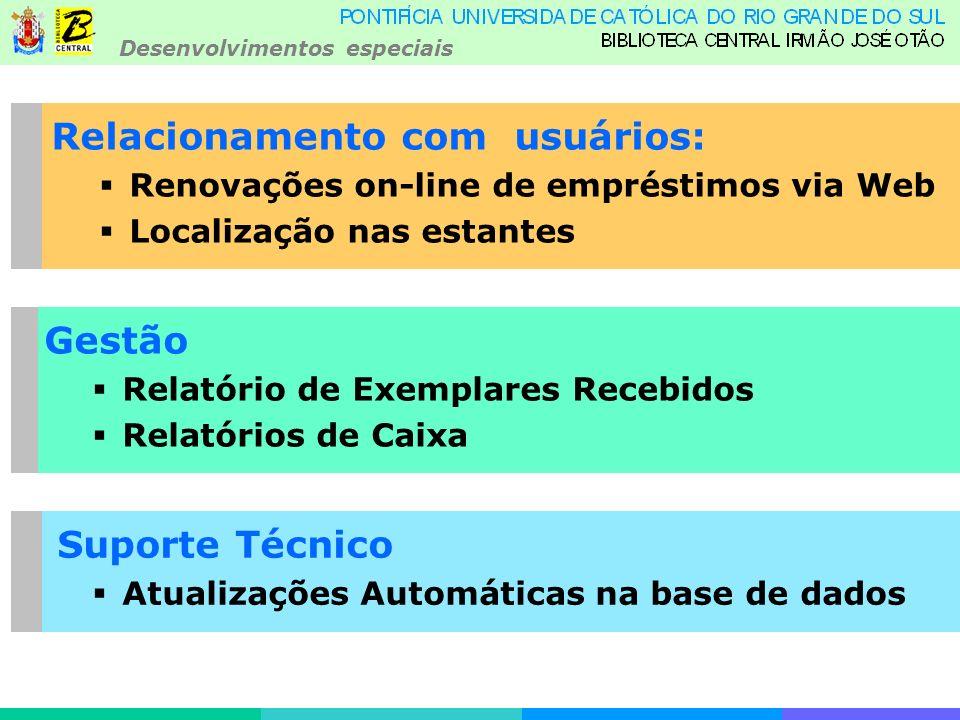 Desenvolvimentos especiais Relacionamento com usuários: Renovações on-line de empréstimos via Web Localização nas estantes Gestão Relatório de Exemplares Recebidos Relatórios de Caixa Suporte Técnico Atualizações Automáticas na base de dados