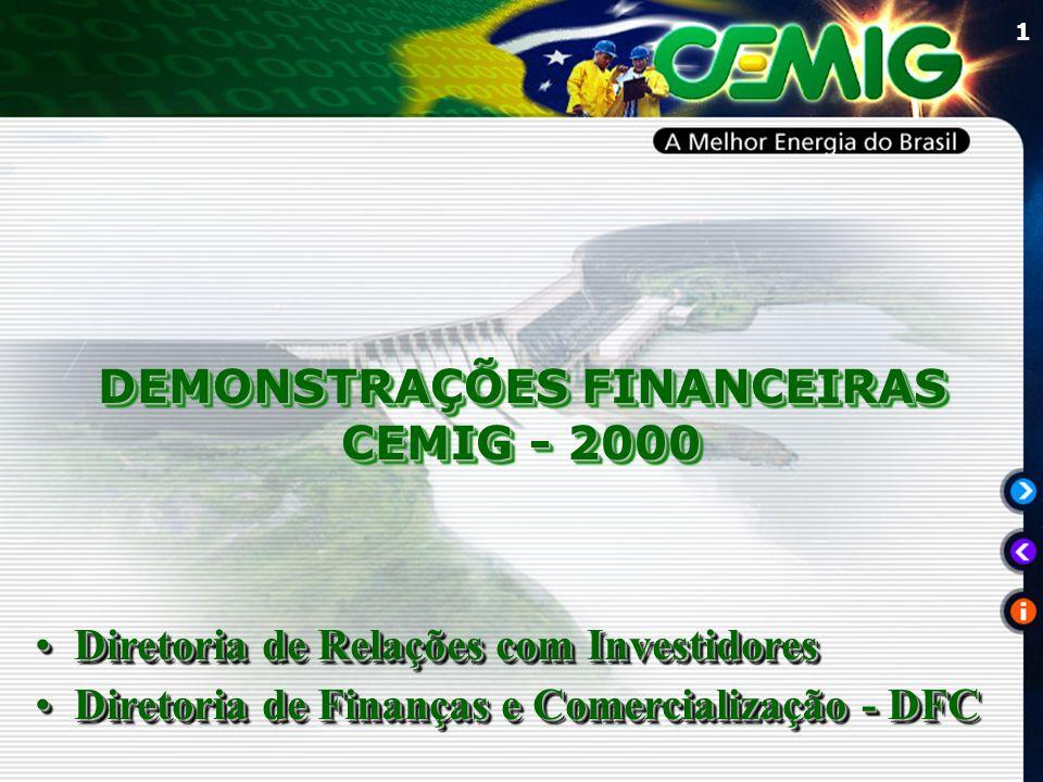 1 DEMONSTRAÇÕES FINANCEIRAS CEMIG - 2000 DEMONSTRAÇÕES FINANCEIRAS CEMIG - 2000 Diretoria de Relações com InvestidoresDiretoria de Relações com Invest