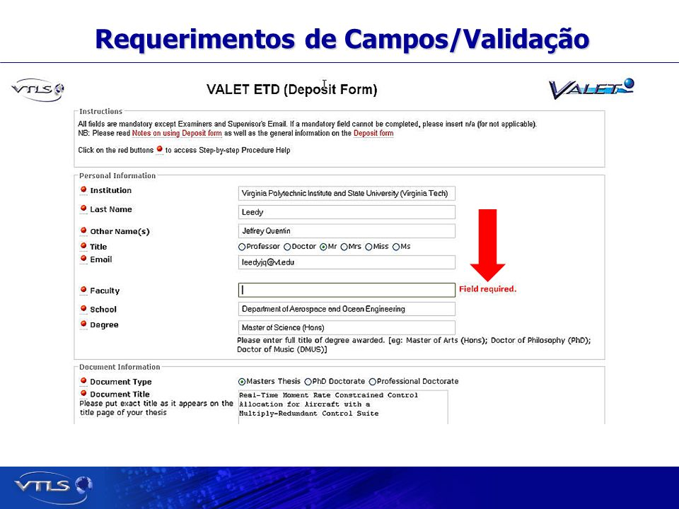 Visionary Technology in Library Solutions Requerimentos de Campos/Validação