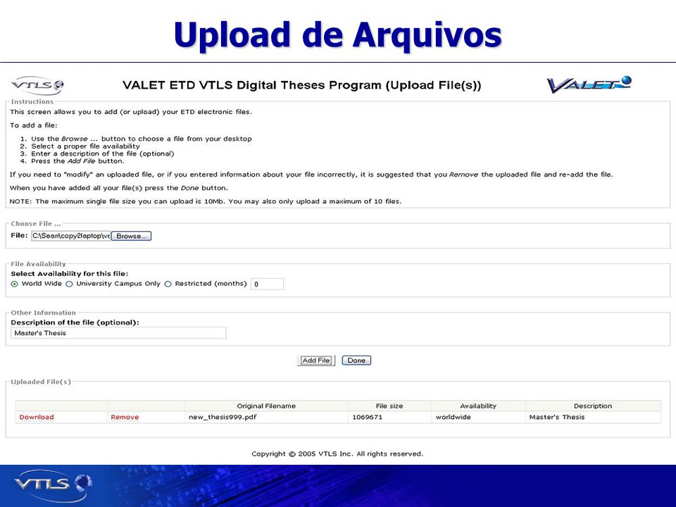 Visionary Technology in Library Solutions Upload de Arquivos