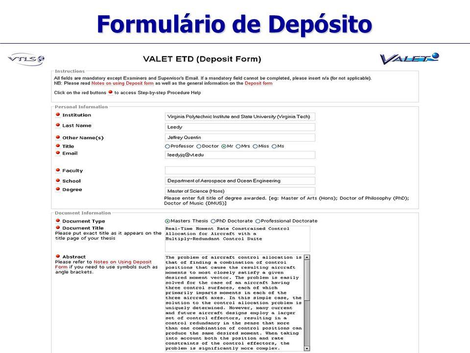 Visionary Technology in Library Solutions Formulário de Depósito
