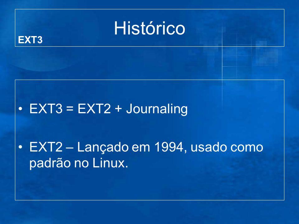 Histórico EXT3 = EXT2 + Journaling EXT2 – Lançado em 1994, usado como padrão no Linux. EXT3