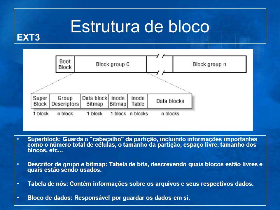 Estrutura de bloco Superblock: Guarda o cabeçalho da partição, incluindo informações importantes como o número total de células, o tamanho da partição, espaço livre, tamanho dos blocos, etc...