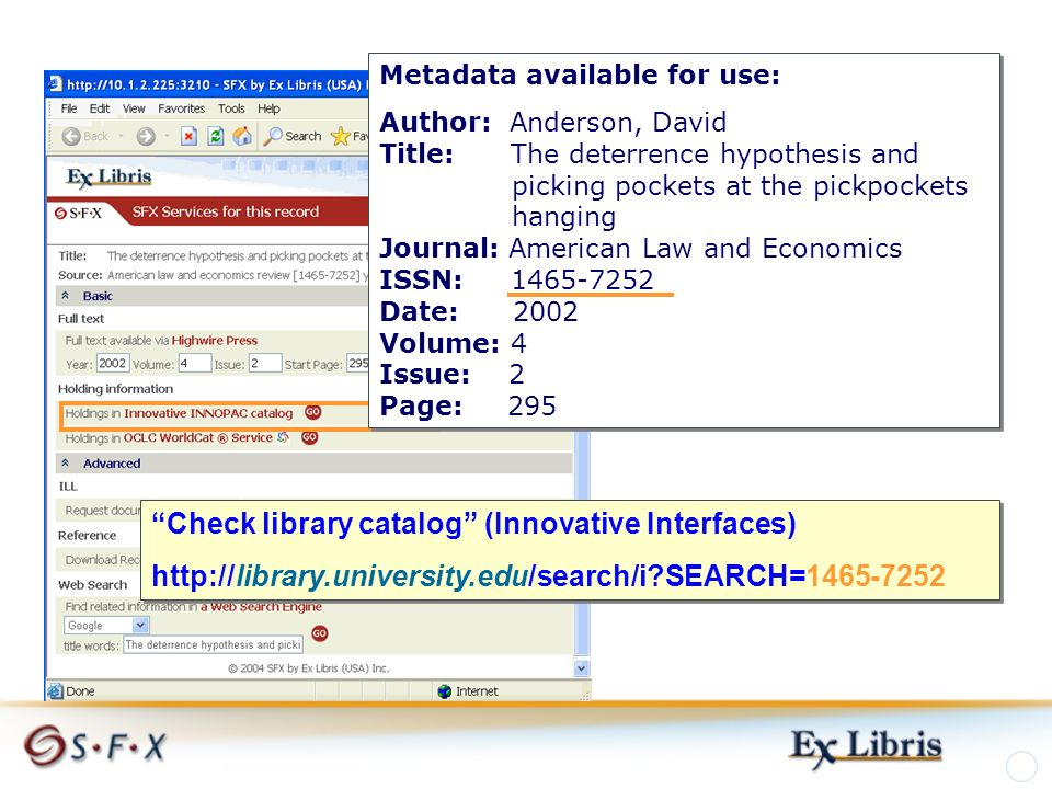 Metadata available for use: Author: Anderson, David Title: The deterrence hypothesis and picking pockets at the pickpockets hanging Journal: American Law and Economics ISSN: 1465-7252 Date: 2002 Volume: 4 Issue: 2 Page: 295 Metadata available for use: Author: Anderson, David Title: The deterrence hypothesis and picking pockets at the pickpockets hanging Journal: American Law and Economics ISSN: 1465-7252 Date: 2002 Volume: 4 Issue: 2 Page: 295 Check library catalog (Innovative Interfaces) http://library.university.edu/search/i SEARCH=1465-7252 Check library catalog (Innovative Interfaces) http://library.university.edu/search/i SEARCH=1465-7252