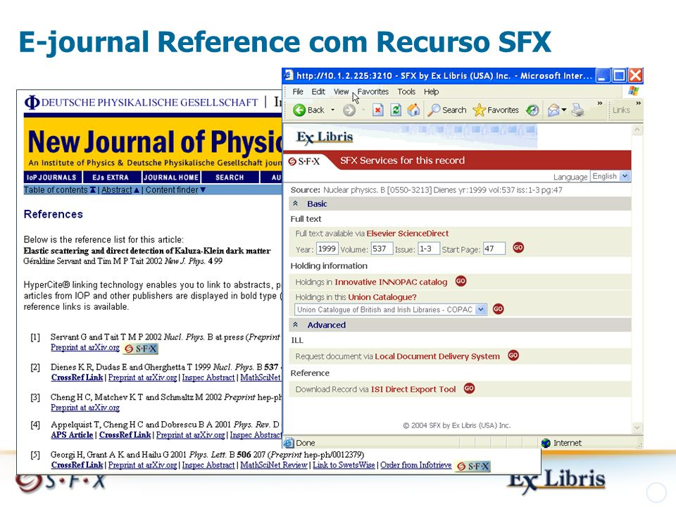 E-journal Reference com Recurso SFX