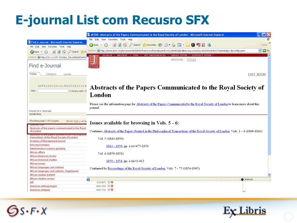 E-journal List com Recusro SFX