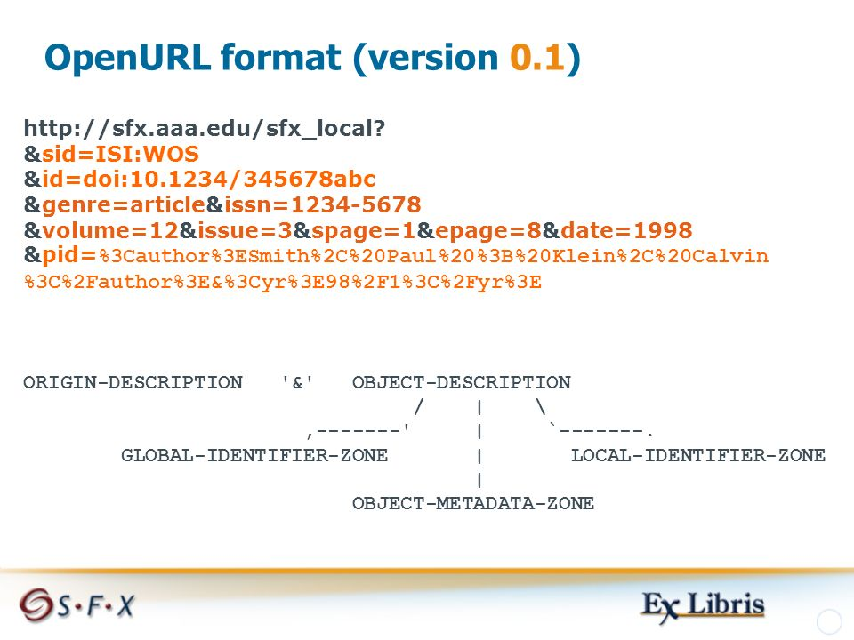 OpenURL format (version 0.1) http://sfx.aaa.edu/sfx_local.