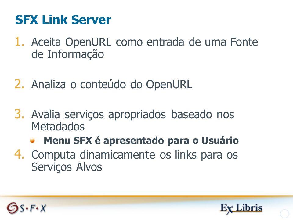 SFX Link Server 1. Aceita OpenURL como entrada de uma Fonte de Informação 2.