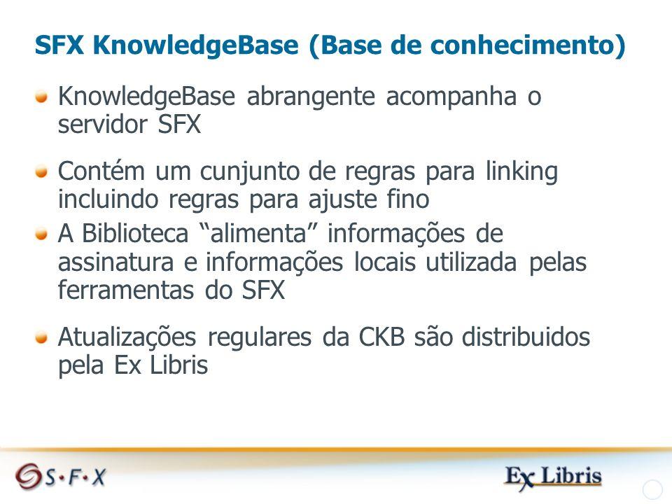 SFX KnowledgeBase (Base de conhecimento) KnowledgeBase abrangente acompanha o servidor SFX Contém um cunjunto de regras para linking incluindo regras para ajuste fino A Biblioteca alimenta informações de assinatura e informações locais utilizada pelas ferramentas do SFX Atualizações regulares da CKB são distribuidos pela Ex Libris