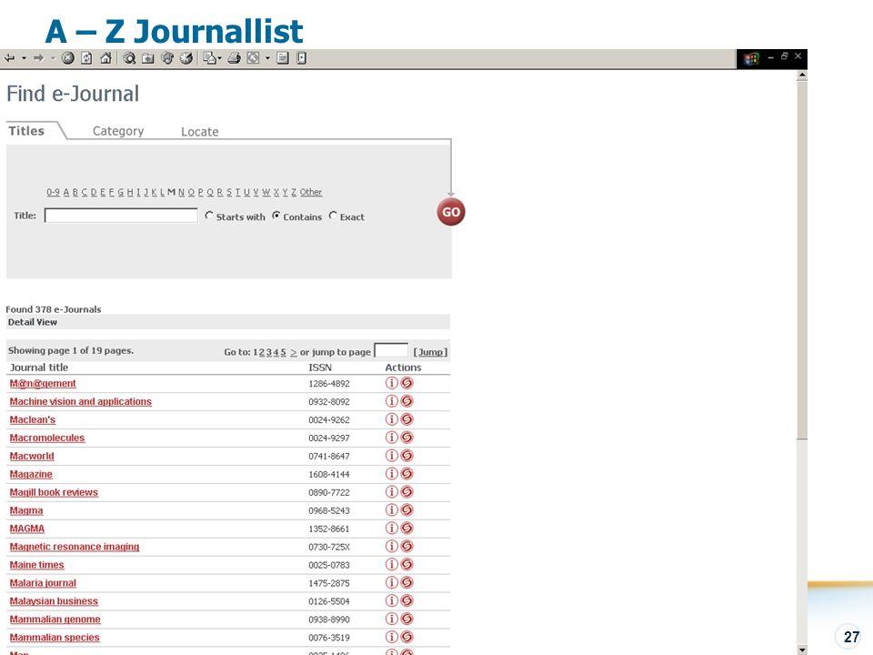 SFX – Visão Geral 27 A – Z Journallist