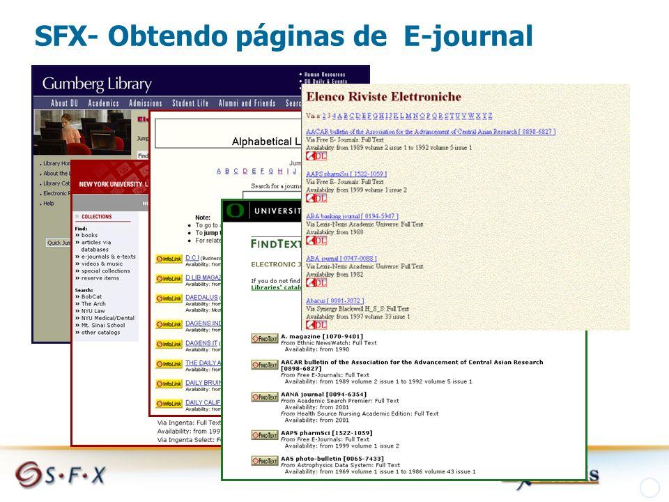 SFX- Obtendo páginas de E-journal