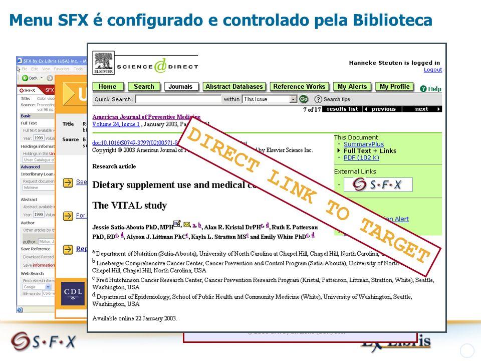 Menu SFX é configurado e controlado pela Biblioteca DIRECT LINK TO TARGET