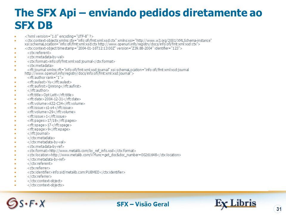 SFX – Visão Geral 31 The SFX Api – enviando pedidos diretamente ao SFX DB info:ofi/fmt:xml:xsd:journal Yu Qinrong Opt Lett 2004-12-31 A32-C34 s1-s4 29 1 17/18 17 9 http://www.metalib.com/by_ref_info.xsd http://www.metalib.com/V func=get_doc&doc_number=00261648 info:sid/metalib.com:PUBMED