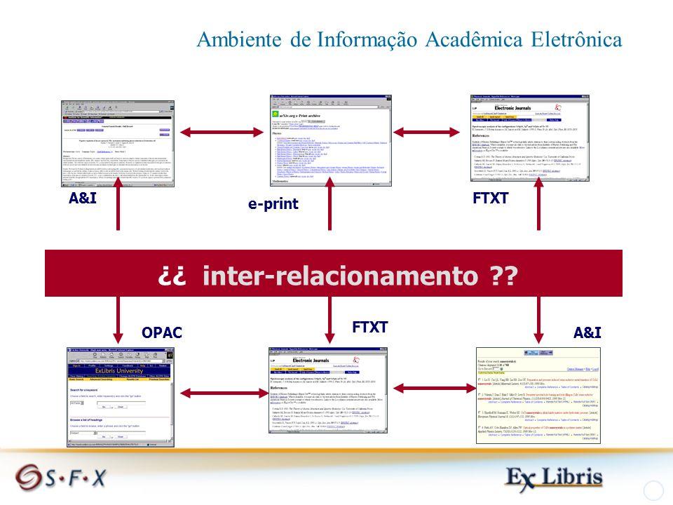 A&I e-print FTXT ¿¿ inter-relacionamento OPACA&I Ambiente de Informação Acadêmica Eletrônica