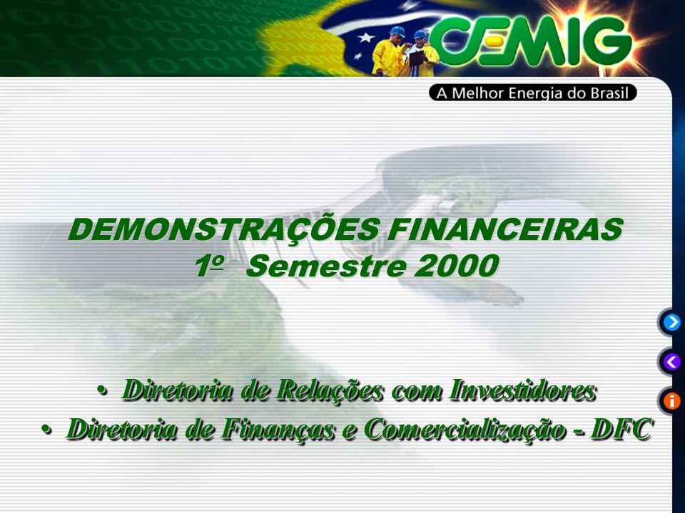 Diretoria de Relações com InvestidoresDiretoria de Relações com Investidores Diretoria de Finanças e Comercialização - DFCDiretoria de Finanças e Comercialização - DFC Diretoria de Relações com InvestidoresDiretoria de Relações com Investidores Diretoria de Finanças e Comercialização - DFCDiretoria de Finanças e Comercialização - DFC DEMONSTRAÇÕES FINANCEIRAS 1 o Semestre 2000