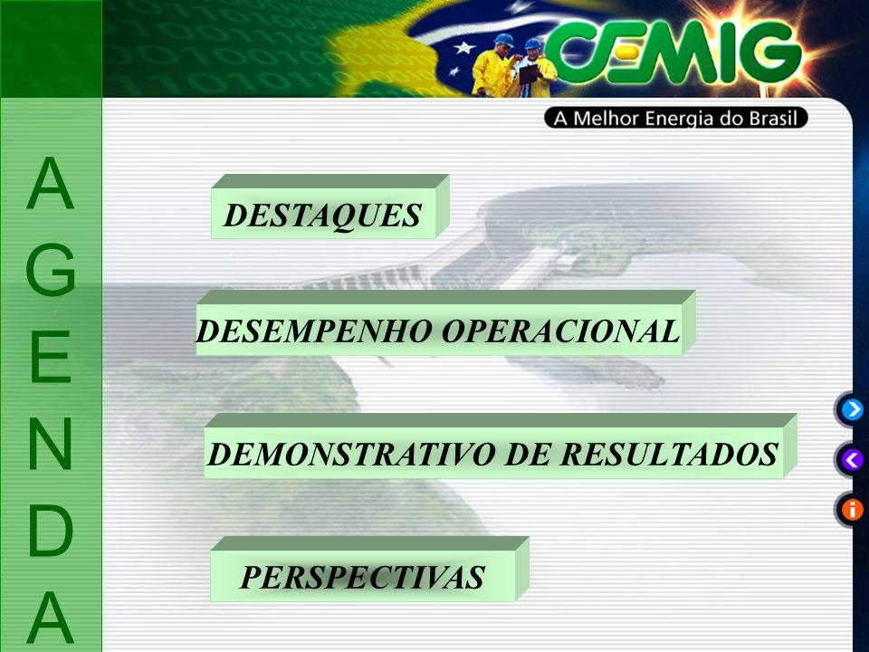 DESTAQUES DESEMPENHO OPERACIONAL DEMONSTRATIVO DE RESULTADOS PERSPECTIVAS AGENDAAGENDA