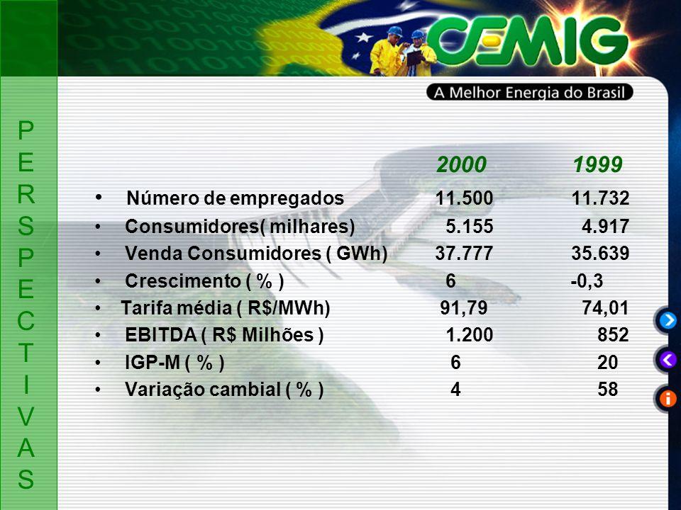 20001999 Número de empregados 11.50011.732 Consumidores( milhares) 5.155 4.917 Venda Consumidores ( GWh)37.77735.639 Crescimento ( % ) 6 -0,3 Tarifa média ( R$/MWh) 91,79 74,01 EBITDA ( R$ Milhões ) 1.200 852 IGP-M ( % ) 6 20 Variação cambial ( % ) 4 58 PERSPECTIVASPERSPECTIVAS