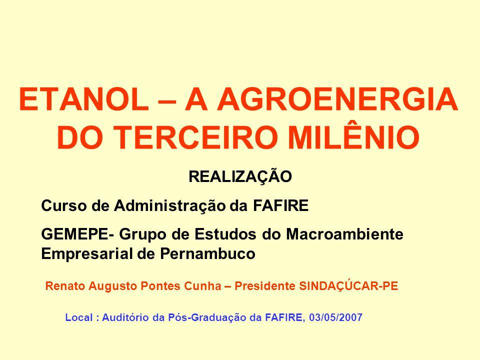 ETANOL – A AGROENERGIA DO TERCEIRO MILÊNIO Renato Augusto Pontes Cunha – Presidente SINDAÇÚCAR-PE Local : Auditório da Pós-Graduação da FAFIRE, 03/05/2007 REALIZAÇÃO Curso de Administração da FAFIRE GEMEPE- Grupo de Estudos do Macroambiente Empresarial de Pernambuco