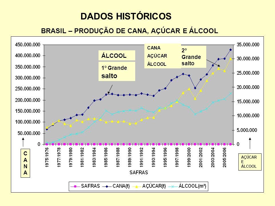 DADOS HISTÓRICOS BRASIL – PRODUÇÃO DE CANA, AÇÚCAR E ÁLCOOL 1º Grande salto 2º Grande salto ÁLCOOL CANA AÇÚCAR ÁLCOOL CANACANA AÇÚCAR E ÁLCOOL