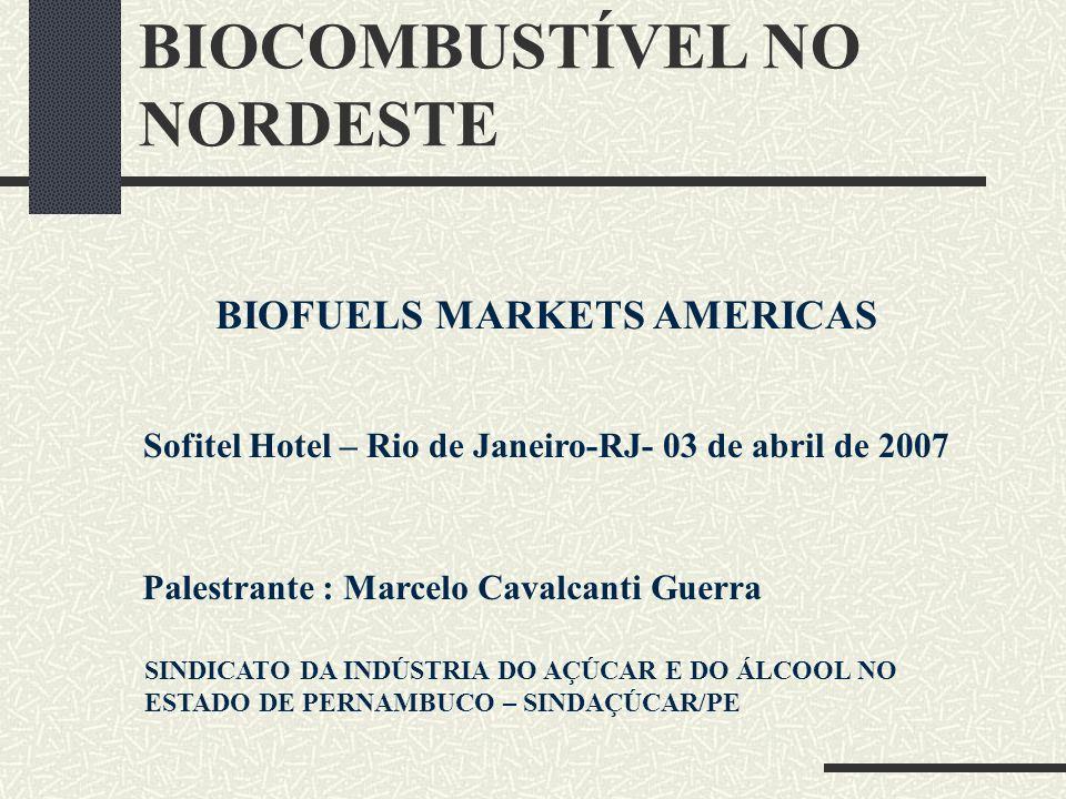BIOCOMBUSTÍVEL NO NORDESTE BIOFUELS MARKETS AMERICAS Sofitel Hotel – Rio de Janeiro-RJ- 03 de abril de 2007 Palestrante : Marcelo Cavalcanti Guerra SI