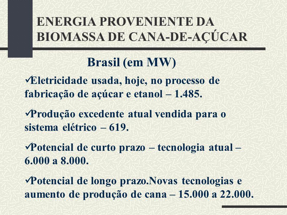 ENERGIA PROVENIENTE DA BIOMASSA DE CANA-DE-AÇÚCAR Brasil (em MW) Eletricidade usada, hoje, no processo de fabricação de açúcar e etanol – 1.485. Produ