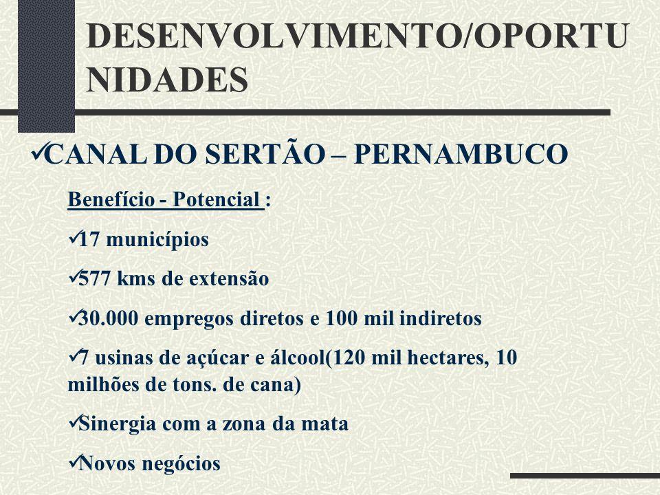 DESENVOLVIMENTO/OPORTU NIDADES CANAL DO SERTÃO – PERNAMBUCO Benefício - Potencial : 17 municípios 577 kms de extensão 30.000 empregos diretos e 100 mi