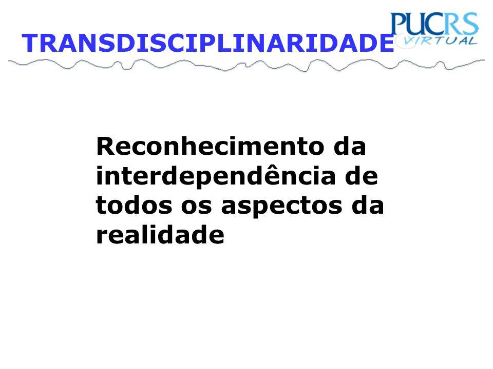 Reconhecimento da interdependência de todos os aspectos da realidade TRANSDISCIPLINARIDADE