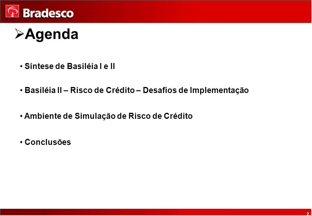 2 Síntese de Basiléia I e II Basiléia II – Risco de Crédito – Desafios de Implementação Ambiente de Simulação de Risco de Crédito Conclusões Agenda