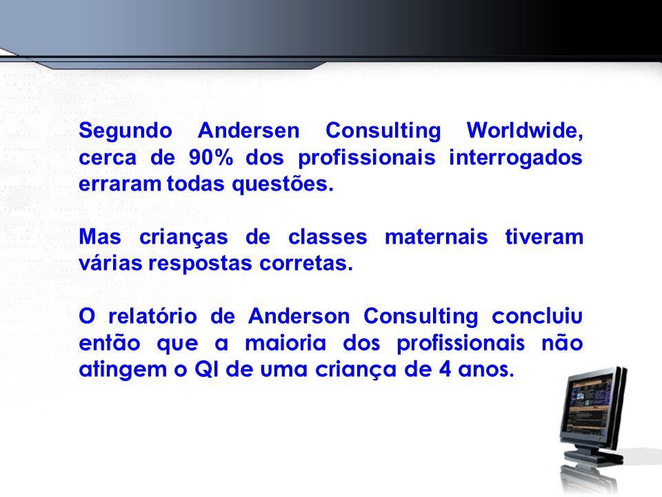 Segundo Andersen Consulting Worldwide, cerca de 90% dos profissionais interrogados erraram todas questões. Mas crianças de classes maternais tiveram v