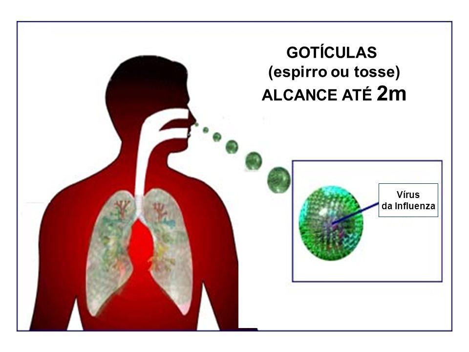 GOTÍCULAS (espirro ou tosse) ALCANCE ATÉ 2m Vírus da Influenza