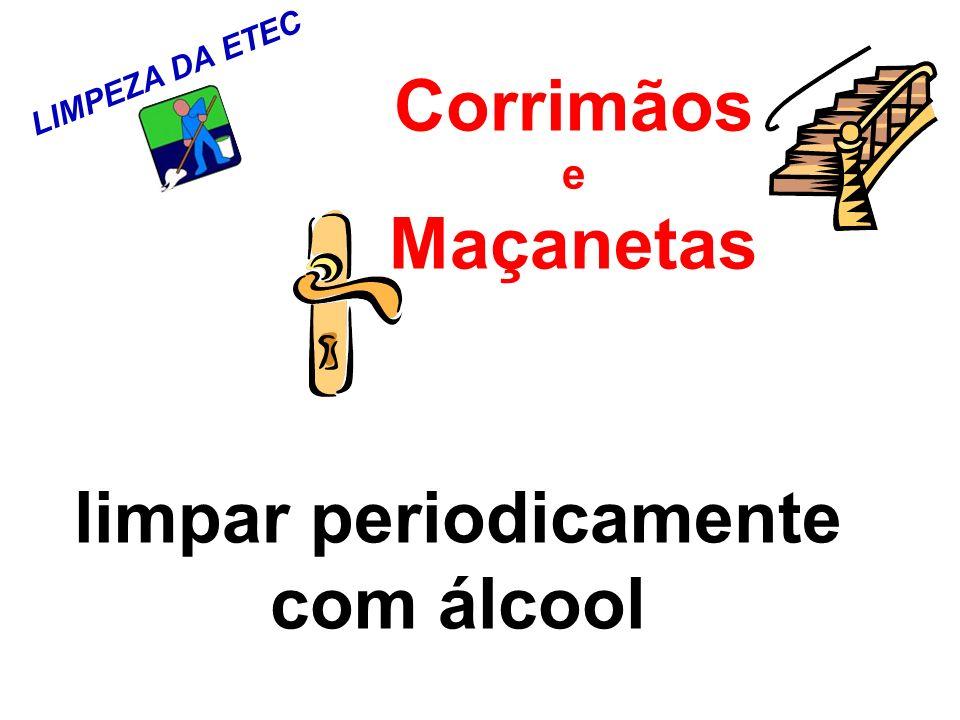 LIMPEZA DA ETEC Corrimãos e Maçanetas limpar periodicamente com álcool