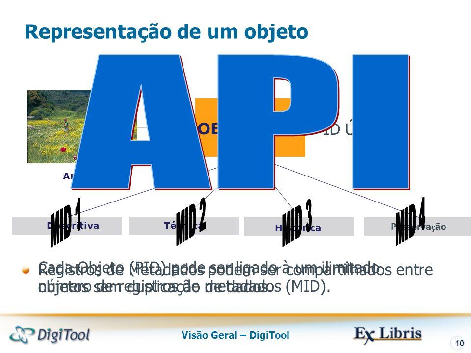 Visão Geral – DigiTool 10 Preserva ç ão Descritiva OBJECT PID Historica Arquivo Técnica ID Único Representação de um objeto Cada Objeto (PID) pode ser ligado à um ilimitado número de registros de metadados (MID).