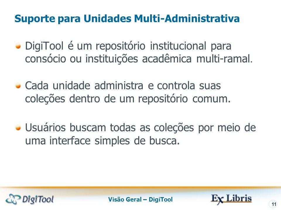 Visão Geral – DigiTool 11 DigiTool é um repositório institucional para consócio ou instituições acadêmica multi-ramal.