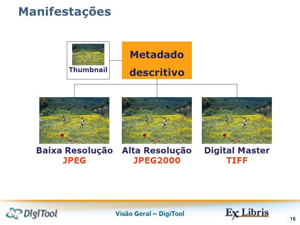 Visão Geral – DigiTool 16 Alta Resolução JPEG2000 Metadado descritivo Thumbnail Baixa Resolução JPEG Digital Master TIFF Manifestações