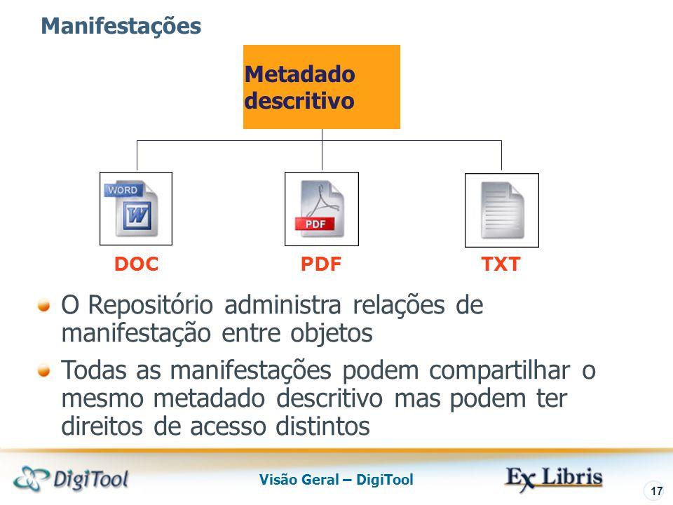 Visão Geral – DigiTool 17 PDF Metadado descritivo DOCTXT Manifestações O Repositório administra relações de manifestação entre objetos Todas as manifestações podem compartilhar o mesmo metadado descritivo mas podem ter direitos de acesso distintos