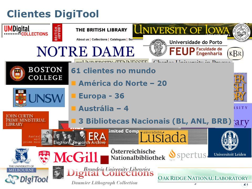 Visão Geral – DigiTool 21 Clientes DigiTool 61 clientes no mundo América do Norte – 20 Europa - 36 Austrália – 4 3 Bibliotecas Nacionais (BL, ANL, BRB)
