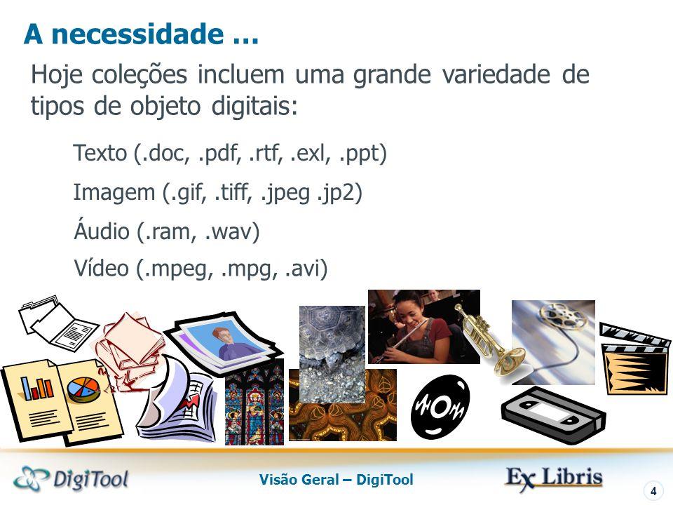 Visão Geral – DigiTool 4 Hoje coleções incluem uma grande variedade de tipos de objeto digitais: Texto (.doc,.pdf,.rtf,.exl,.ppt) Imagem (.gif,.tiff,.jpeg.jp2) Áudio (.ram,.wav) Vídeo (.mpeg,.mpg,.avi) A necessidade …